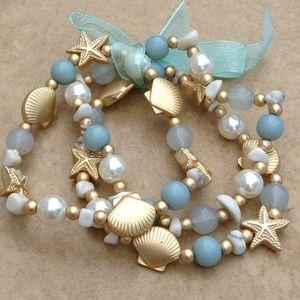 Jewelry - Gold Tone Mint Beach Nautical Stretch Bracelets